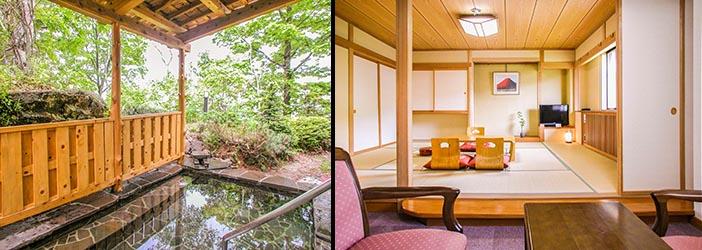 四季を通じてご利用頂ける露天風呂と、ゆったり間取りの和室10畳の客室の例の写真です。